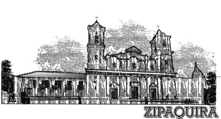 Zipaquirá Parque central, ilustración con achurado en illustrator