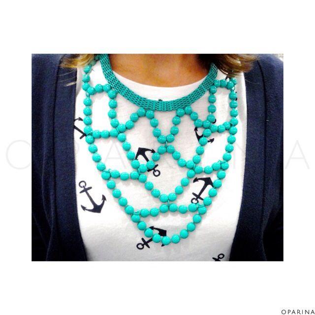 Collar Azul Turquesa !!!! #oparina #statementnecklace #lookoftheday #oparinalook #boho #bohochic  #madewithstudio
