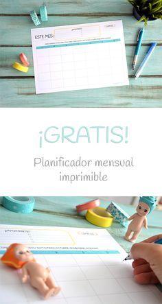 Planificador/ organizador mensual ¡Gratis! y para imprimir. Mantén tus días organziados y productivos.