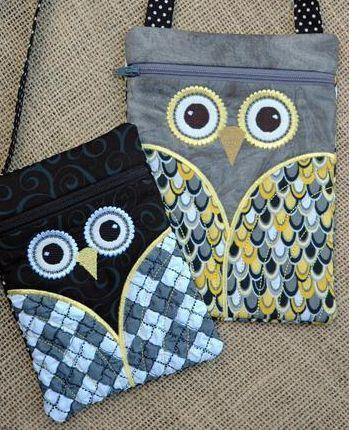 Owl Purses Made With Machine Applique on Craftsy.com