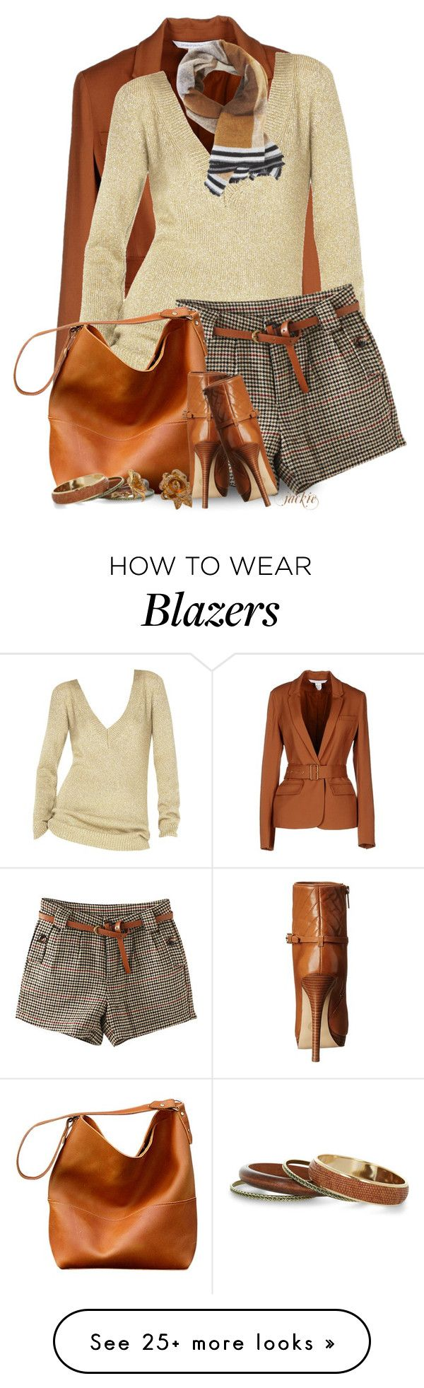 """""""Blazer, Shorts and Booties"""" by jackie22 on Polyvore featuring Diane Von Furstenberg, Michael Kors, BCBGMAXAZRIA and MICHAEL Michael Kors"""