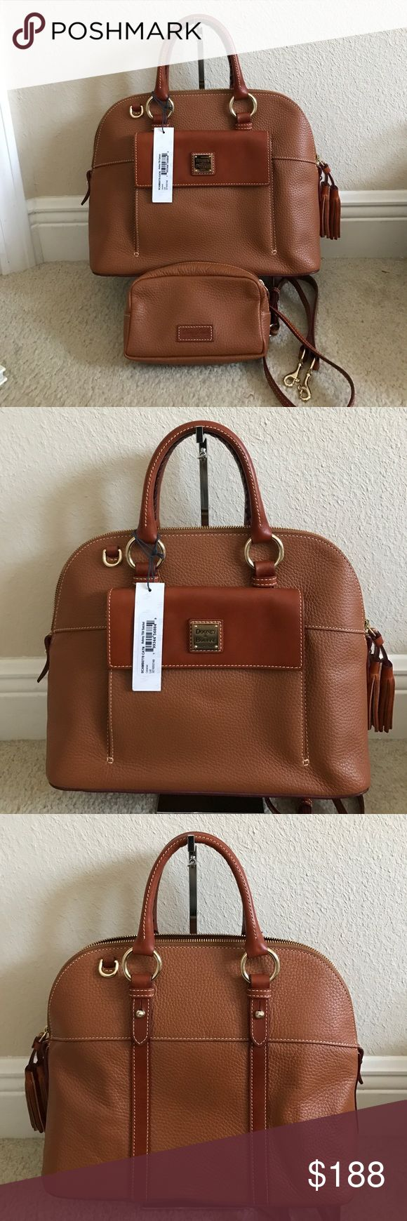 """Dooney&Bourke Pebble Leather Aubrey Satchel w/acc Preown in great condition. Comes with accessories. Color caramel. Back right has some wrinkles. Approximate measurements: Satchel 13""""W x 11""""H x 5-3/4""""D with a 4-1/2"""" handle drop and a 20"""" to 23"""" strap drop, weighs approximately 2 lbs, 14 oz; Cosmetic case 6-3/4""""W x 4""""H x 2-1/4""""D Body/trim 100% leather; lining 100% cotton Dooney & Bourke Bags Satchels"""