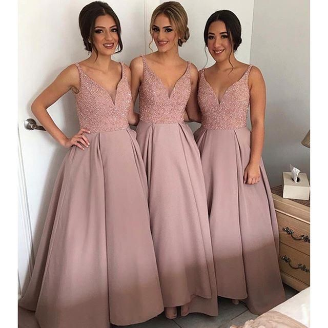 Fashion Blush Beaded Bridesmaids Dresses 2016 Deep V Neck Sleeveless A Line Floor Length Satin Maid Of Honor Gowns Custom Made