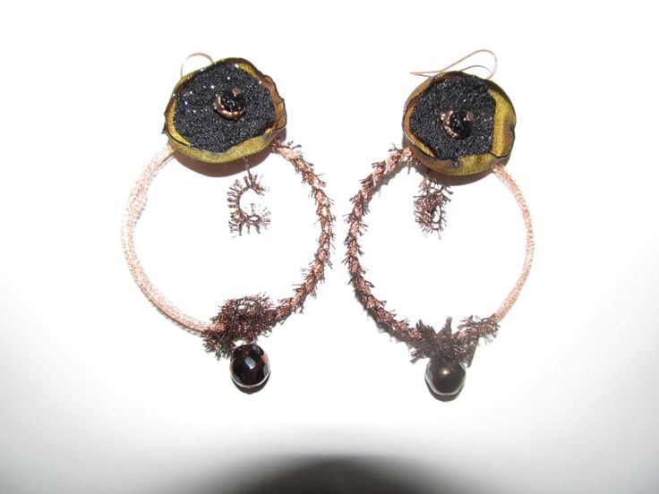 Handmade earrings (1 pair)  Made with hoop, metal trimming, handmade fabric motif, fiber, glass beads and antiallergic hangings