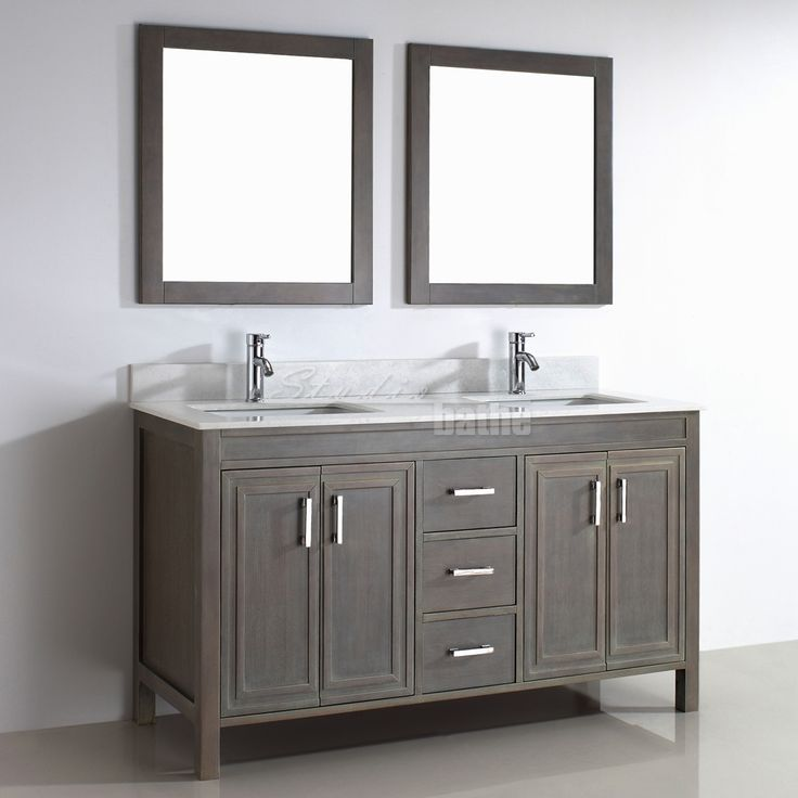 Studio Bathe Corniche 60 Inch Double Bathroom Vanity French Gray Finish Solid Hardwood