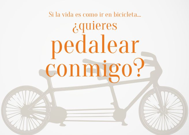 Tarjeta >¿Quieres pedalear conmigo? Do you want to ride with me? card