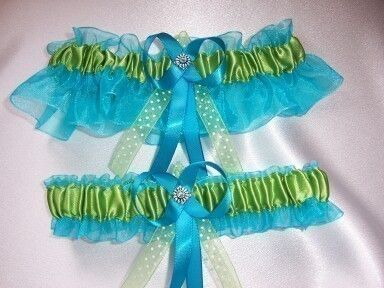 Elegant Turquoise and Lime Green Wedding Garter by GartersByKristi, $35.00