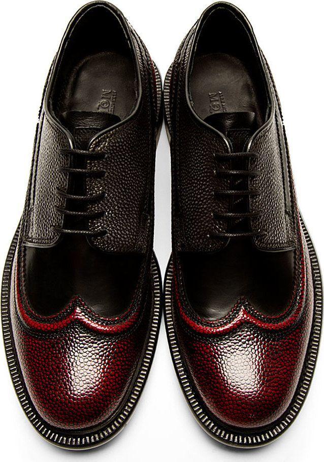 Men's shoes   Alexander Mcqueen: Burgundy Black Piped Austerity Brogues Raddestlooks On The Internet http://www.raddestlooks.net