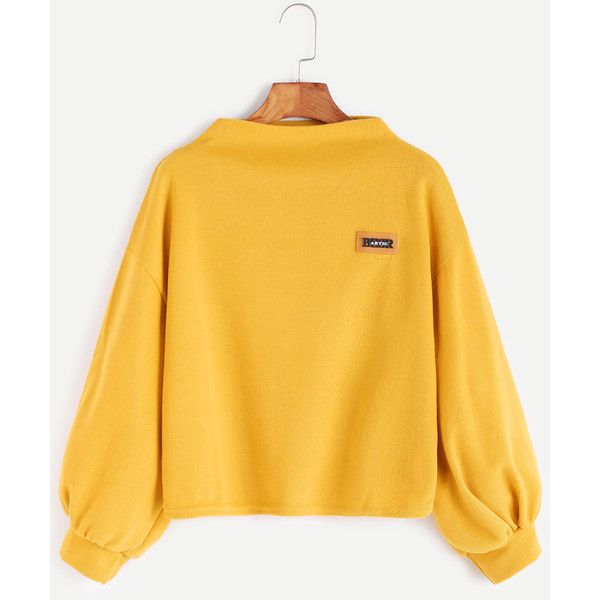 SheIn(sheinside) Funnel Neck Lantern Sleeve Patch Sweatshirt ($13) ❤ liked on Polyvore featuring tops, hoodies, sweatshirts, yellow, funnel sweatshirt, yellow sweatshirt, sweater pullover, funnel collar sweatshirt and funnel neck pullover