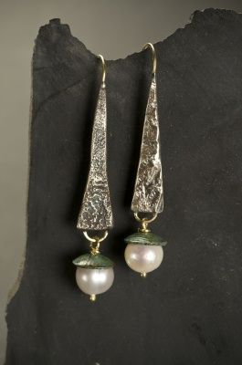 18kt gold, reticulated silver, shibuichi and fresh water pearl earrings by Judith Atruda