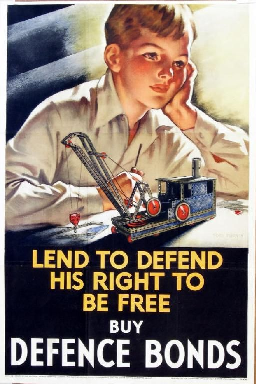 Tom Purvis (1888-1959) Lend To Defend His Right To Be Free, Buy National Savings Certificates, published by HMSO 1940