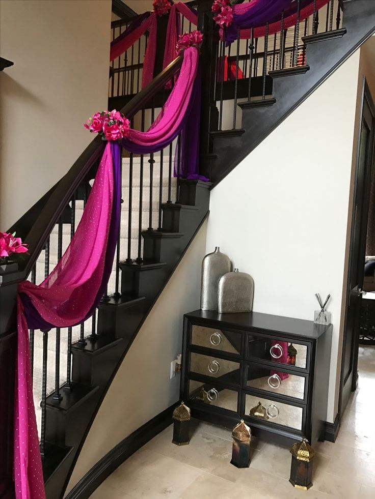 Home décor and Staircase drapes décor for an Asi…
