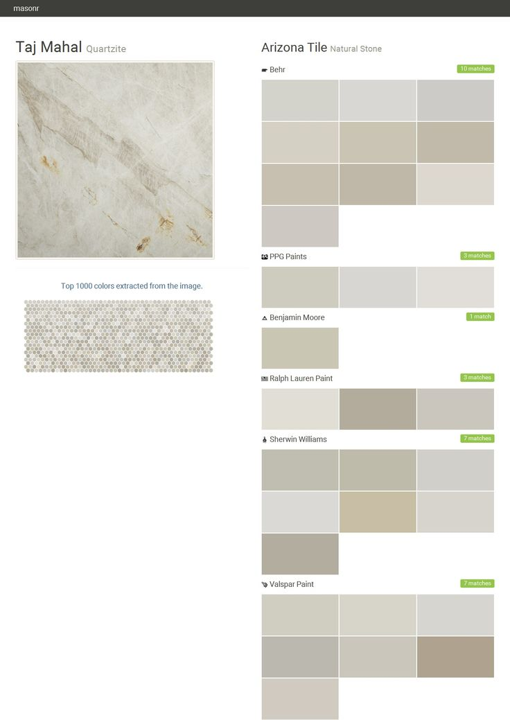 Taj Mahal. Quartzite. Natural Stone. Arizona Tile. Behr. PPG Paints. Benjamin Moore. Ralph Lauren Paint. Sherwin Williams. Valspar Paint.  Click the gray Visit button to see the matching paint names.