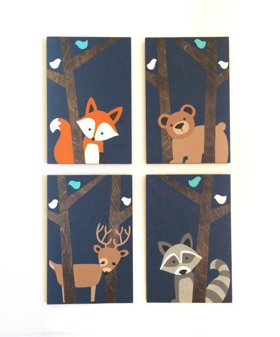 Woodland Nursery Art – Fox Nursery Decor – Woodland Animals – Animal Nursery Wall Art – Deer Paintin