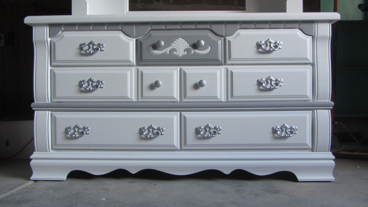 Fancy 7 Drawer Dresser Hand Painted In White With Charcoal Gray Accents And Silver Handles Refinished By Kelly S Creations Http Www Fac