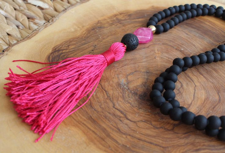 Black Beaded Tassel Necklace - Long Beaded Necklace - Deep rose tassel and Beads Necklace - Bohemian Necklace by lizaslittlethings on Etsy https://www.etsy.com/listing/204686949/black-beaded-tassel-necklace-long-beaded