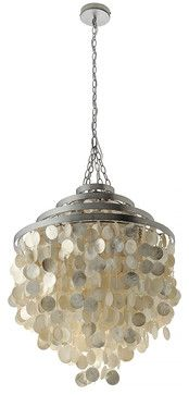 Round Chandelier with Capiz Shells, Gold Hue - beach-style - Chandeliers - Other Metro - KOUBOO $545 WOW!! 20w 24d 26h