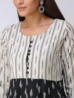 Ivory-Black Ikat Cotton Kurta