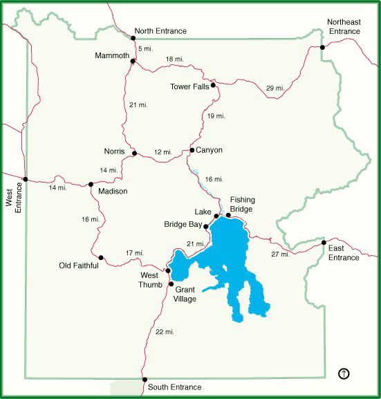 Yellowstone Interactive Park Map providing links to individual area maps (25K)