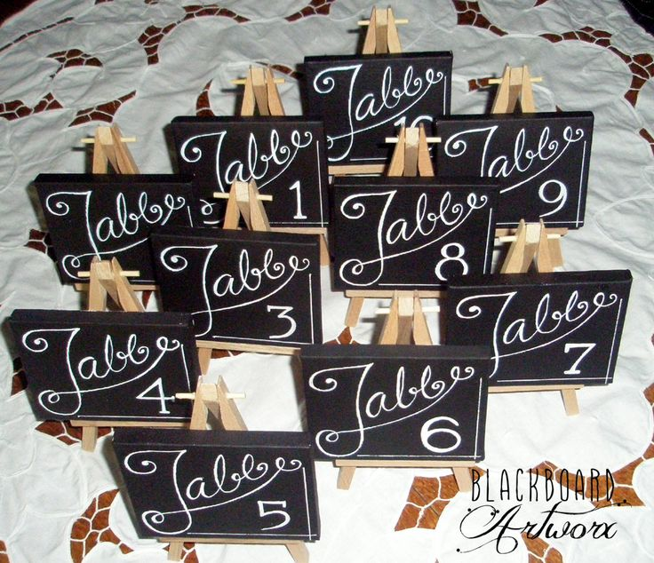Wedding table numbers. Mini canvas on a wooden easel...so cute. Any style of font available.