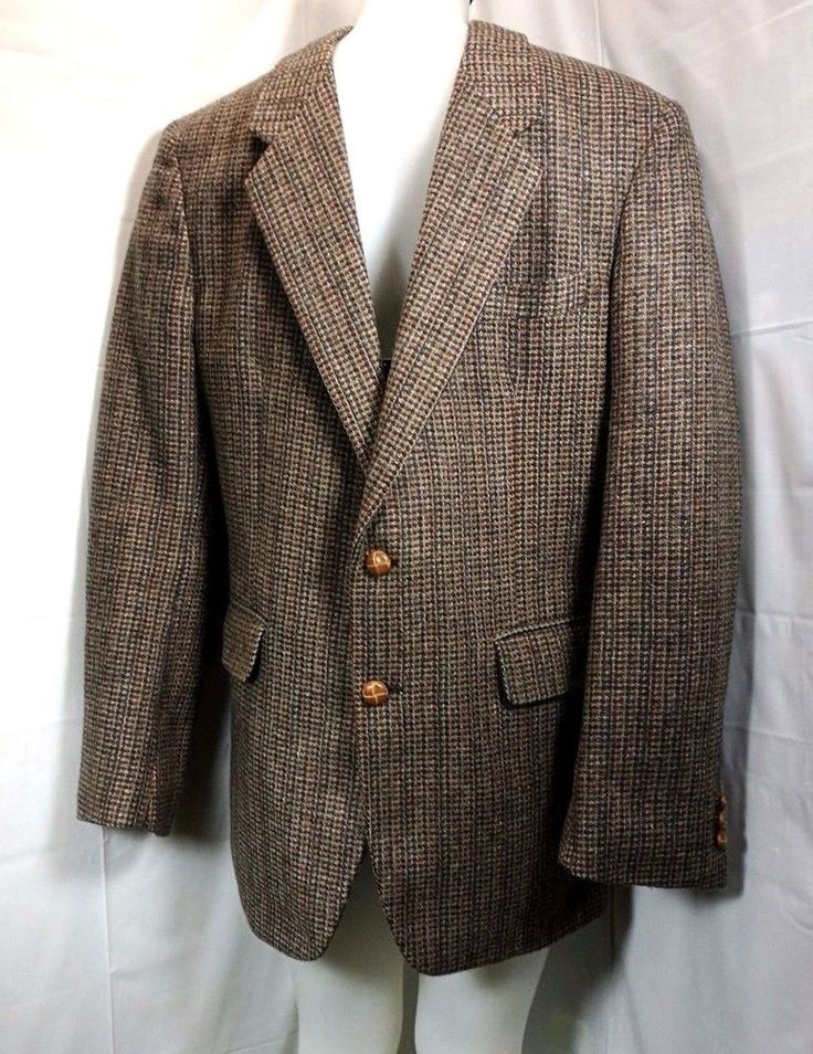 40 R ~  Mens Brown Beige  TWEED Jacket Blazer Sportcoat  #JJCochran #TwoButton