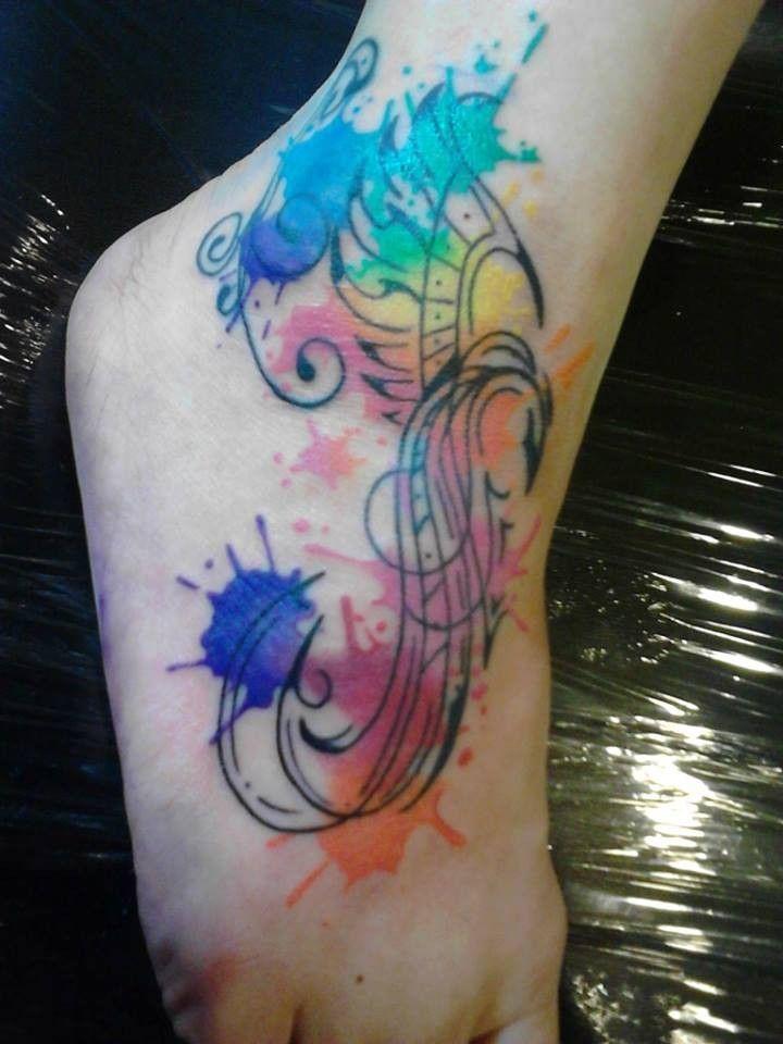 splendid foot phoenix feather watercolor tattoo design for ...