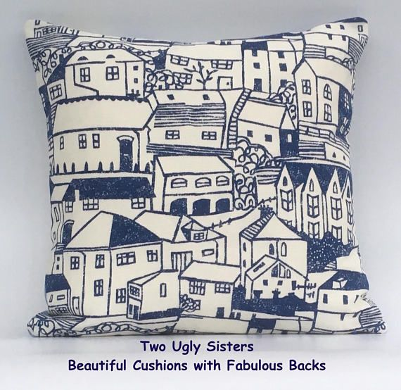 St Ives Cushion Cornwall Cushion Blue Stripe Cushion Seaside Pillow Seaside Fabric Seaside Decor Mother's Day Free Shipping Two Ugly Sisters