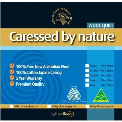 Classic Wool Quilt 500gsm by Caressed by Nature