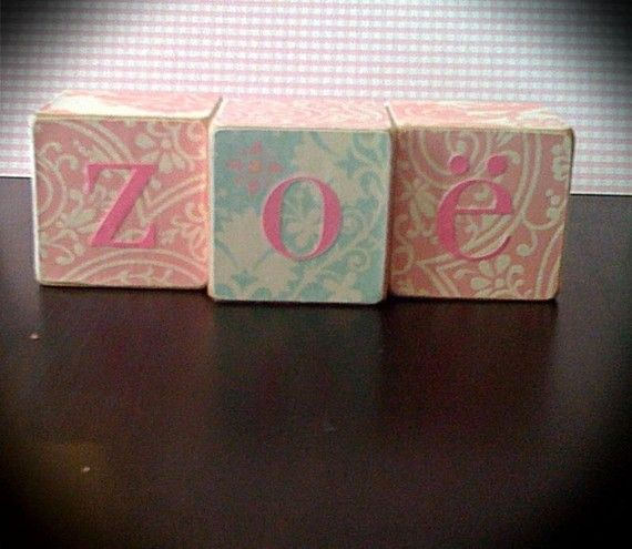 Zoe Shabby Chic PERSONALIZED WOODEN BLOCKS gifts by ChloesCouture, $5.00