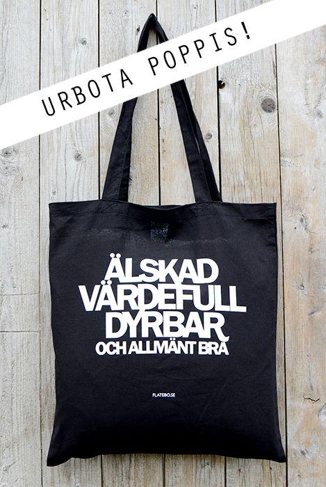 flatebo.se - 25-pack: Tygkasse i svart: Älskad, värdefull, dyrbar. Och allmänt bra.