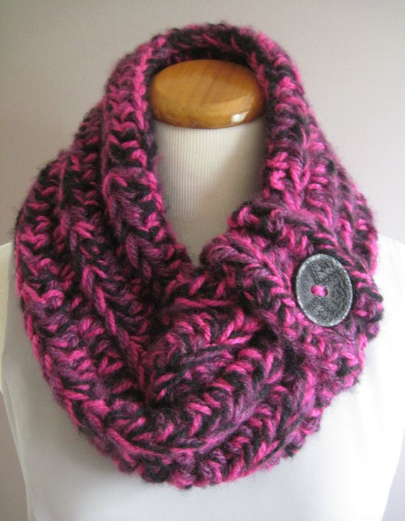 Chunky Bulky Button Crochet Neck Warmer Cowl: Black, Hot Pink and Purple with Black Button