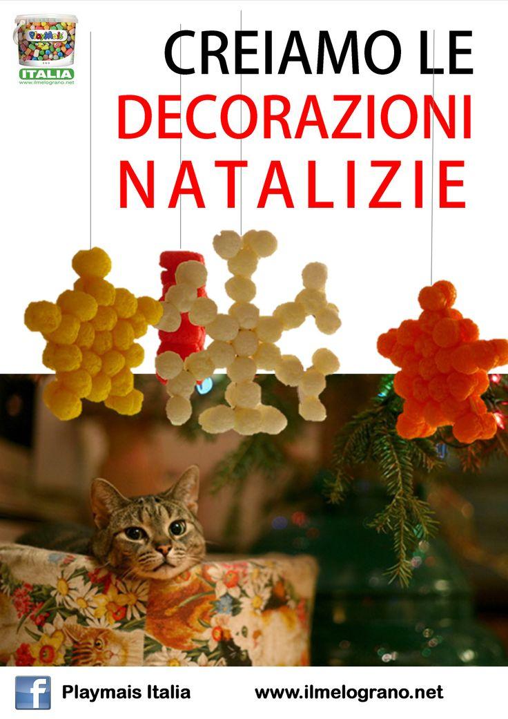 Stelle e fiocchi di neve per decorare l'albero, la casa, ... Istruzioni e sagome li trovi su http://www.ilmelograno.net/it/83-playmais-italia