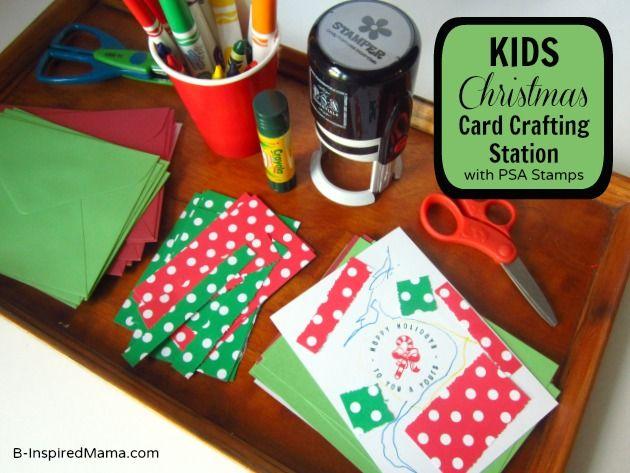 Do your kids make and give Christmas cards?  Kids Christmas Craft [Christmas Card Craft Station] at B-InspiredMama.com