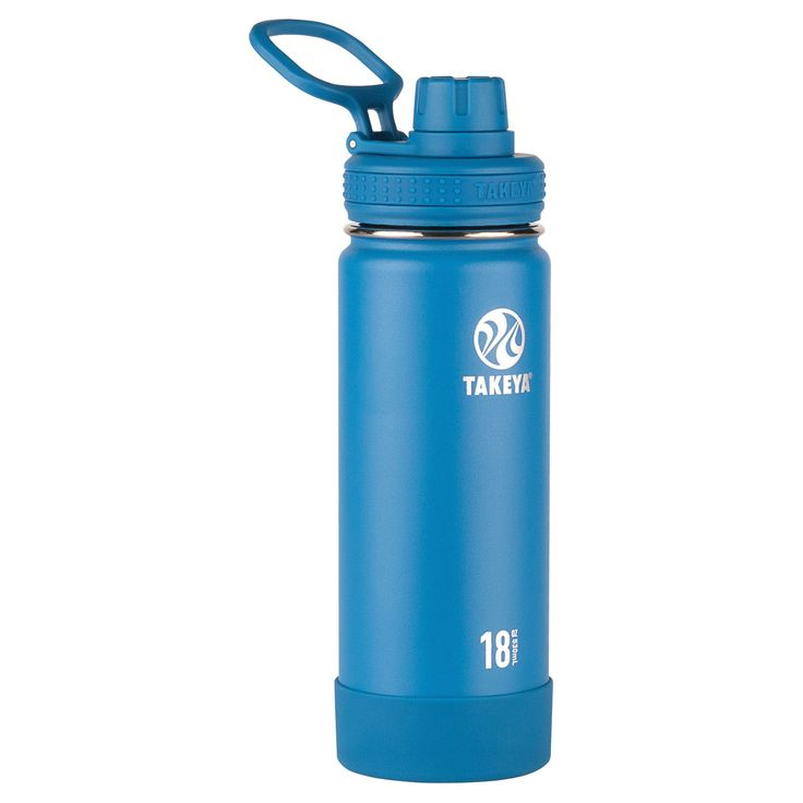 Takeya Actives 18oz Insulated Stainless Steel Water Bottle with Insulated Spout Lid - Blue