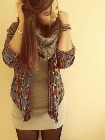 leggings, fitted dress, open flannel, and scarf. easy, warm and cute for fall/winter