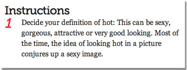 This relates to the article we read about Bebo. It pokes fun at the ridiculous advice given to young women and girls in order to get the best profile picture.  The first step in the process is deciding if a girl considers herself attractive, good-looking, or goregous; it is a limited number of choices--AC