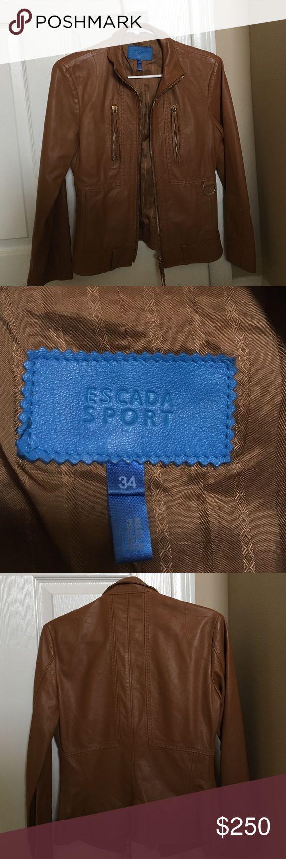 Escada Sport Leather Jacket (hardly worn) Tan leather jacket escada sport Escada Jackets & Coats