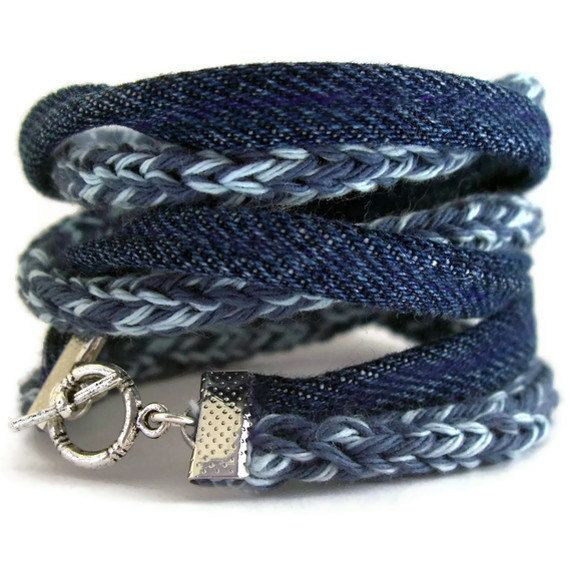 Eco friendly upcycle bracelet-smoky bleu-ciel bleu-Vintage denim indigo                                                                                                                                                                                 Plus