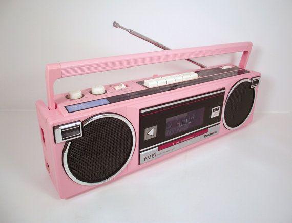 pink boombox | Vintage Panasonic 1980s Pink Portable BoomBox AM FM Radio Cassette ...