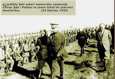 Atatürk, İnönü ve İran Şahı aynı karede. (Seydiköy 1934)