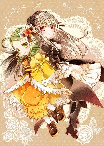 Tags: Anime, Rozen Maiden, Suigintou, Spotted, Yellow Outfit, Kanaria, Lolita Fashion