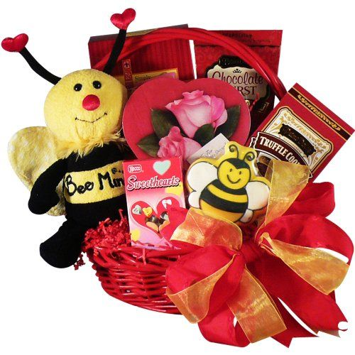 Bee Mine Chocolate and Cookie Gift Basket - Valentine's Day - http://mygourmetgifts.com/bee-mine-chocolate-and-cookie-gift-basket-valentines-day/