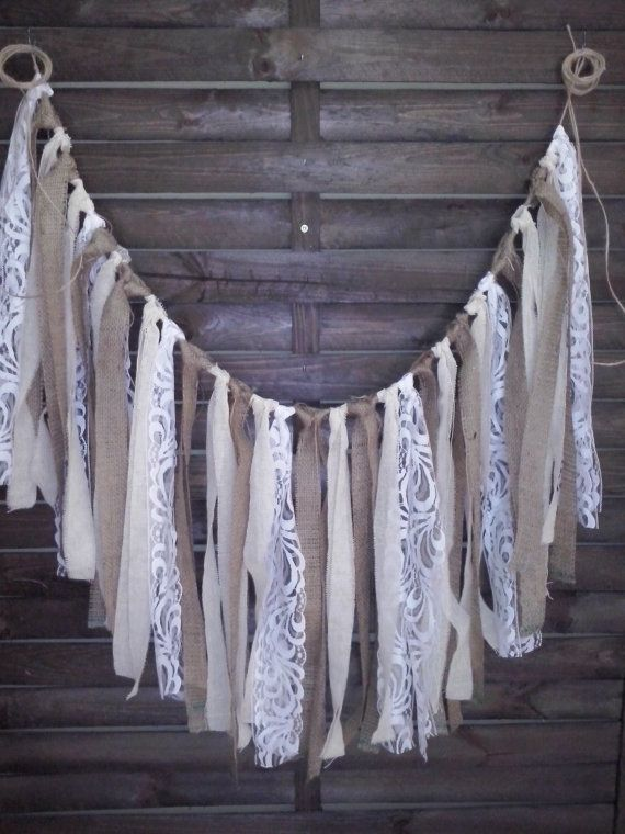 Rustic garland,fabric and burlap garland, Wedding prop, home decor, rag bunting, fabric banner