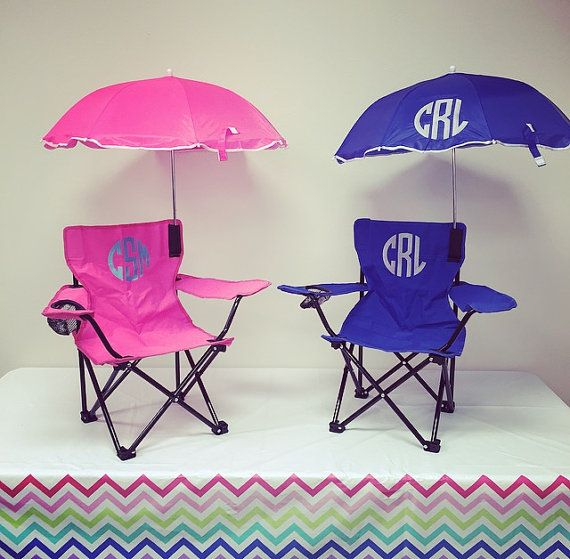 Monogrammed Kids Camp Chair. Monogrammed Chair available in 5 colors. Personalized Kids' Beach Chair with Umbrella. by TwoGuysMonogramming