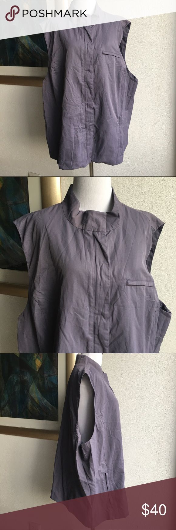 """Eileen Fisher Purple Vest size 3X Preowned Eileen Fisher Women's Purple Vest Size 3X Full Zip Up Outdoors. Lightly worn. Armpit to armpit is 28"""" inches. Collar to hem is 27"""" inches. Please look at pictures for better reference. Happy shopping!! Eileen Fisher Jackets & Coats Vests"""