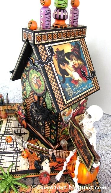 This is one amazing altered Happy Haunting house! Just check out all the magical details! By the amazing @Linda Cain #graphic45