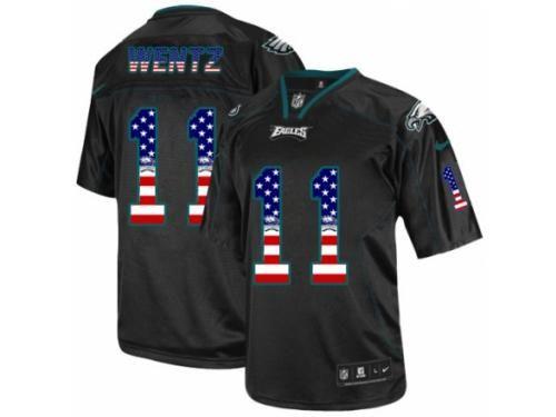 abd37420a Men s Nike Philadelphia Eagles  11 Carson Wentz Limited Black USA Flag  Fashion NFL Jersey