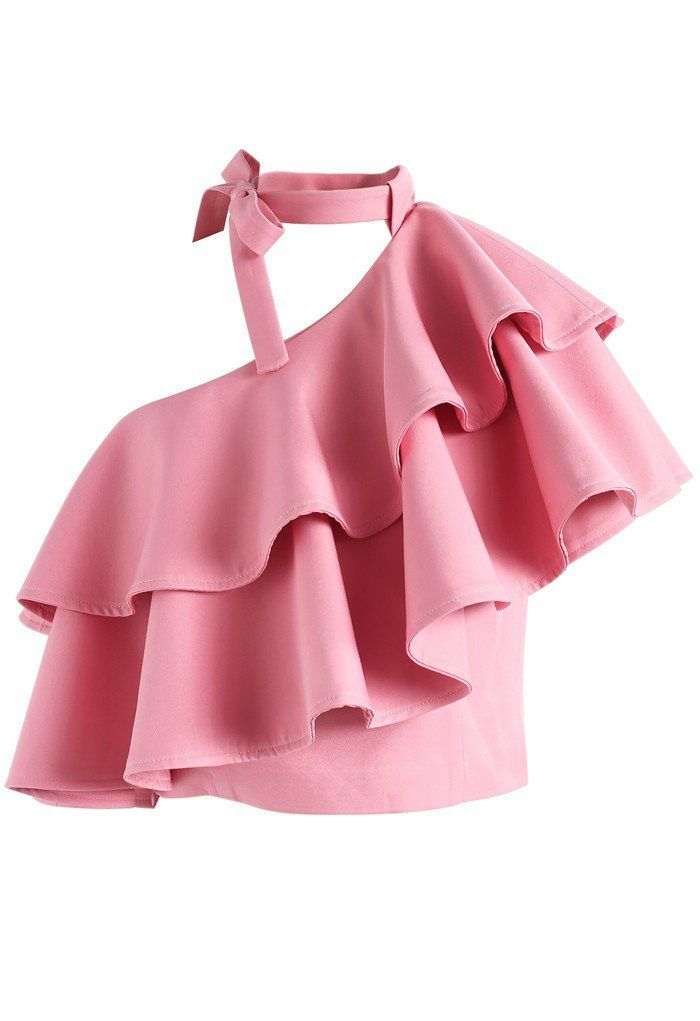 Ritzy One-shoulder Ruffled Crop Top in Pink - New Arrivals - Retro, Indie and Unique Fashion