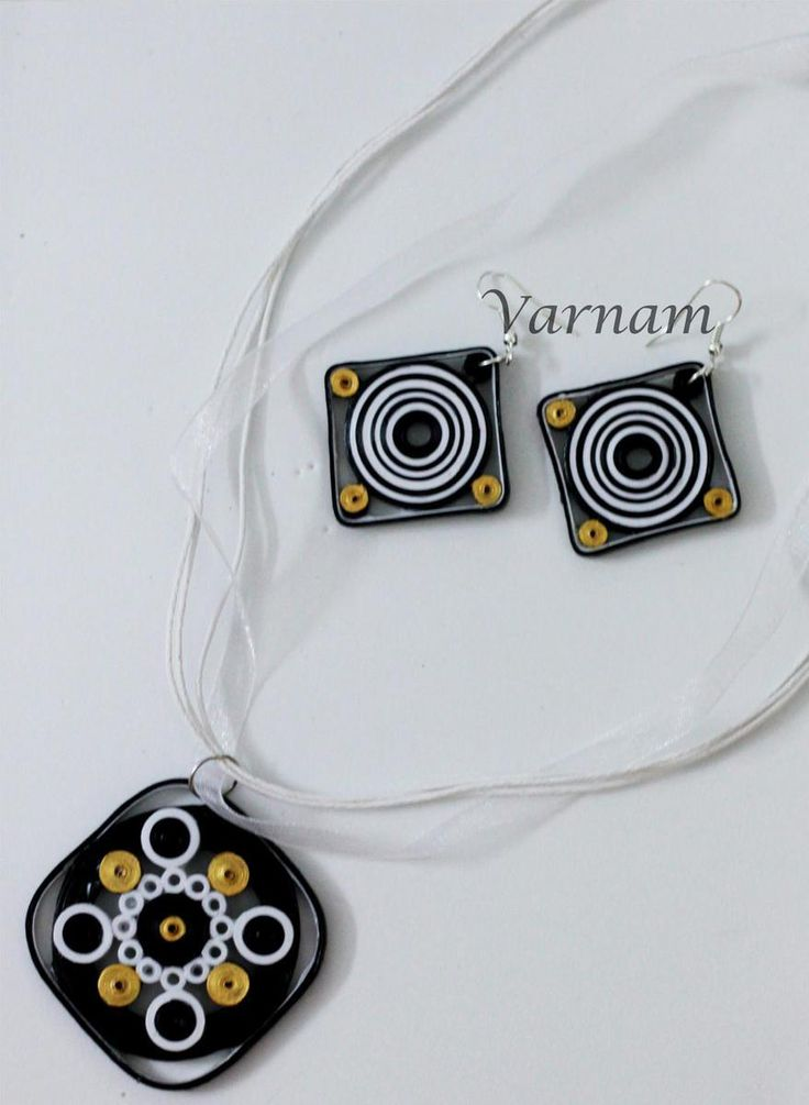 Quilled Jewelry Set - Black and White