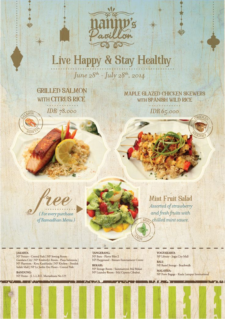 Live Happy and Stay Healthy! Ramadhan is coming and we have special menus and promo for you, Nanny's Lovers...